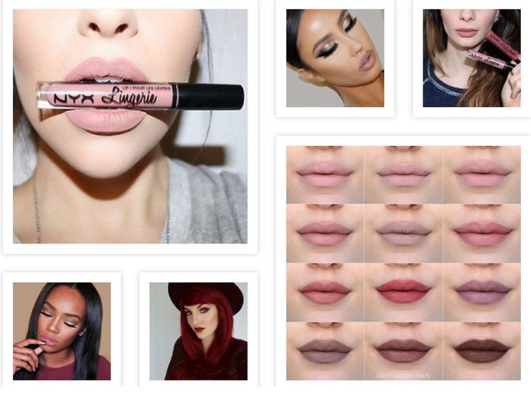 2016 Nuovo arrivo NYX labbro lingerie crema labbra Lip gloss Rossetto vintage lunga durata 4ML Professional Makeup nyx lip gloss rossetti
