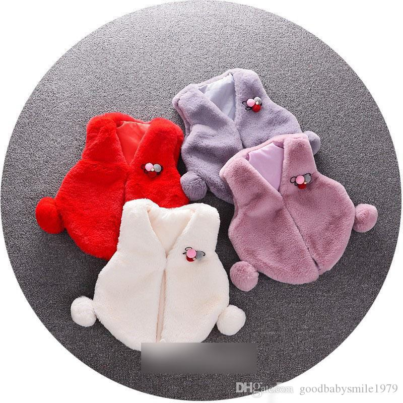 39dcfdf9b Newborn Fleece Waistcoat Cute Baby Girls Pompons Decoration V-neck ...