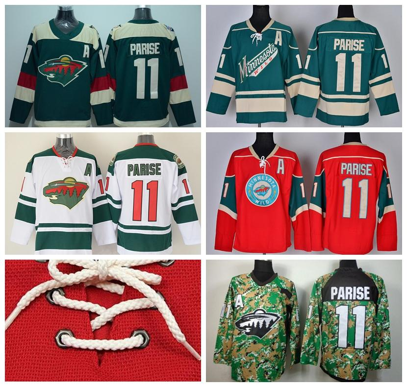 100% authentic b0978 17d0e Minnesota Wild 11 Zach Parise Ice Hockey Jerseys Stadium Series Team Color  Green Alternate White Red Camo Breathable For Sport Fans