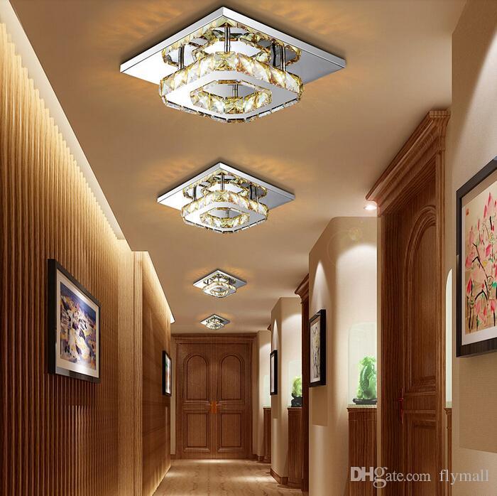 Moderne led kristall deckenleuchte 12 watt leuchte platz oberfläche montiert kristall lampe für flur korridor asile licht kronleuchter deckenleuchte