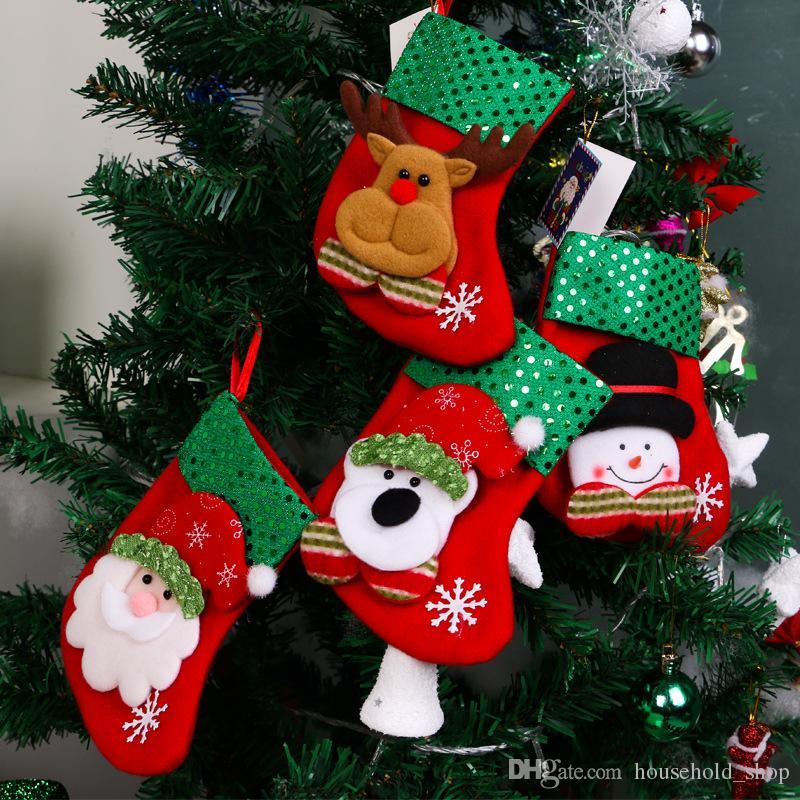 dhl christmas stocking sequin socks gifts sacks candy bags cartoon stockings christmas tree decor santa claus snowman deer bear hot sale christmas