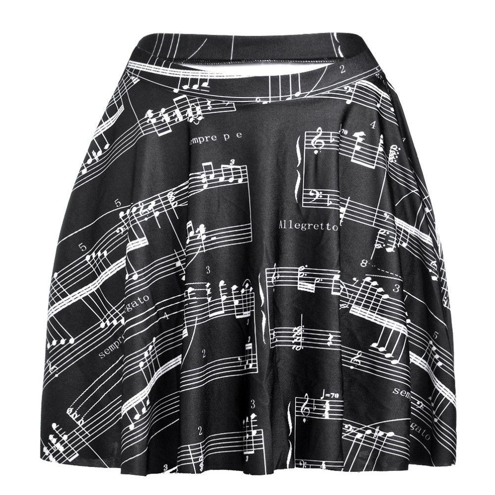 Plus Size S-L Summer Skirt New Sexy Slim Women s Music Notes 3D ... d4d3c80337d9