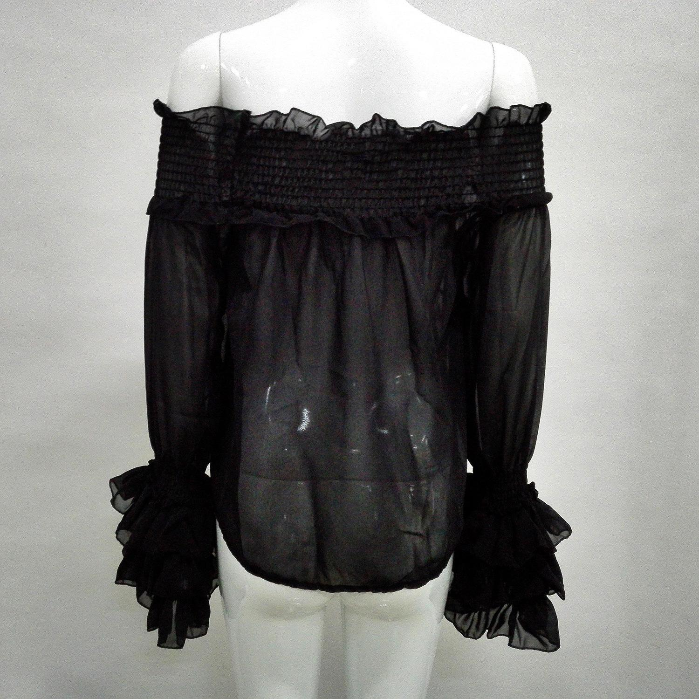 Europe sexy chiffon ruffles shoulderless sheer long sleeve blouses plus size women spring autumn summer fashion t shirts tees coat tops