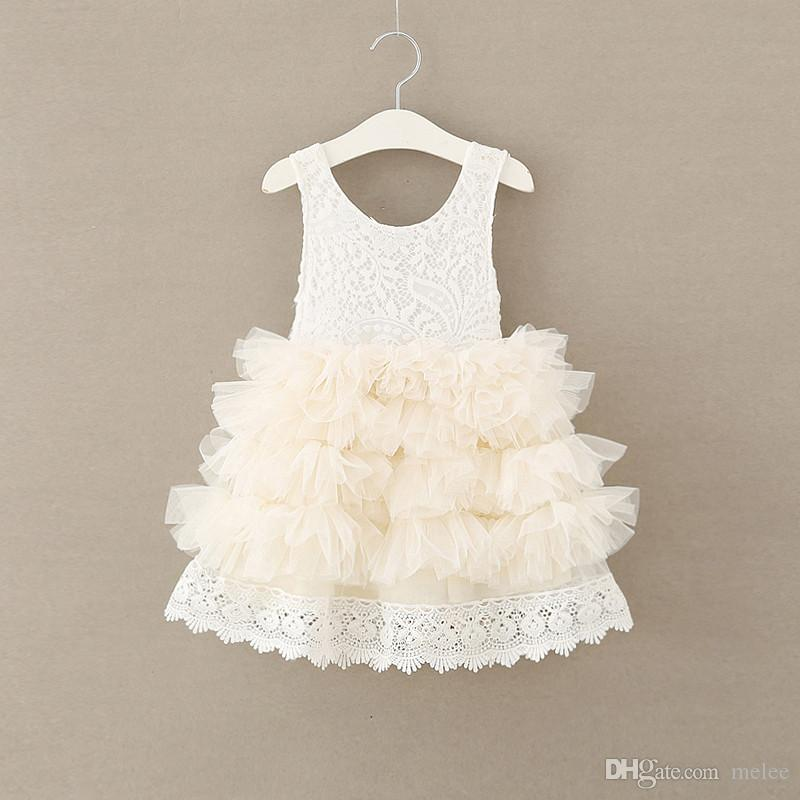 INS Girls full Lace tutu Princess Dresses Girls Tulle Party Dress Girl Summer Diamond Neck Dress Children Christmas Dress