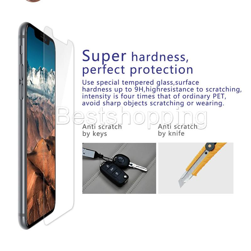 Para iPhone X Xr Xs Máx. 8 7 6S Más Protector de pantalla de cristal templado 9H 2.5D Película anti-ruptura Para Samsung J3 J7 Prime 2017 2018 LG Stylo 4 3