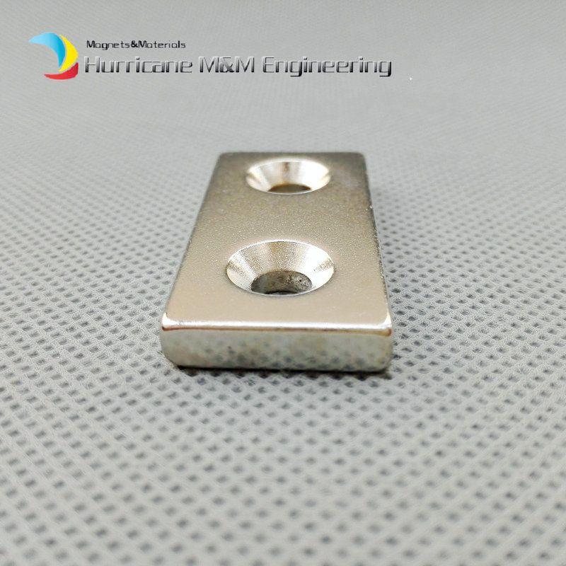 NdFeB Fix Magnet 40x20x5mm with 2 M5 Screw Countersunk Holes Block N42 Neodymium Rare Earth Permanent Magnet