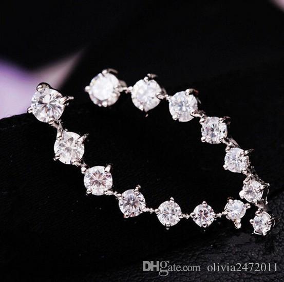 CZ الماس كليب أقراط أزرار الفضة / مطلية بالذهب الغطاس هوك أقراط مجوهرات للمرأة حلق ZL