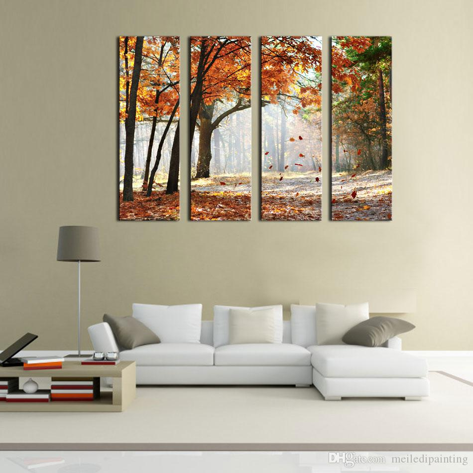 Modern Canvas Painting Wall Art The Picture For Home Decoration Sun Rays Landscape Forest Print On Canvas Giclee Artwork For Wall Decor