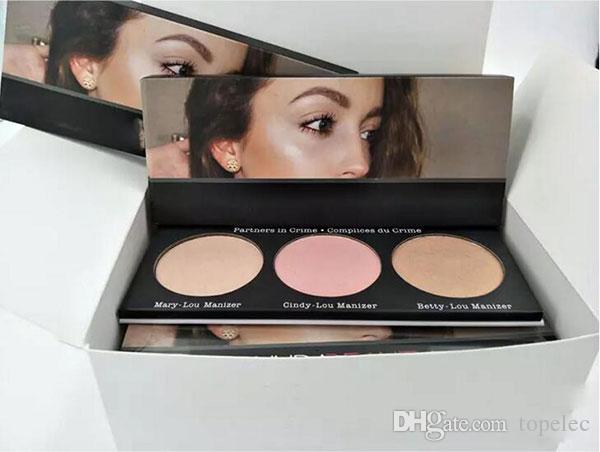 Новый макияж красоты Манизер нажимается порошок палитра 3 цвета BronzersHighlighters румяна контур бесплатная доставка