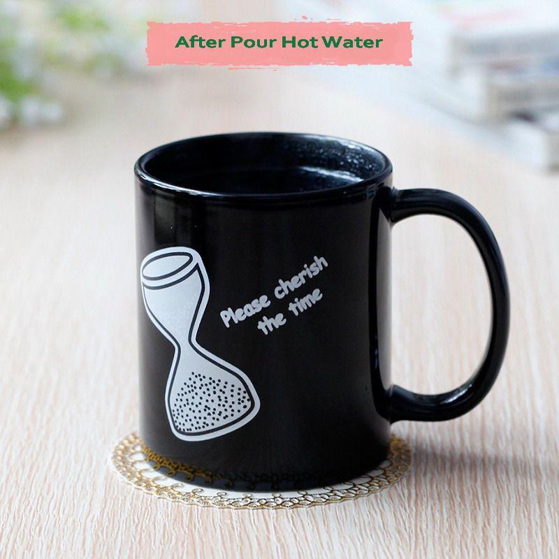 Clessidra all'ingrosso di trasporto libero del DHL Ami il tempo Cambia tazza di colore Tazza magica Tazza cambiante di temperatura di calore del caffè di ceramica di alta qualità