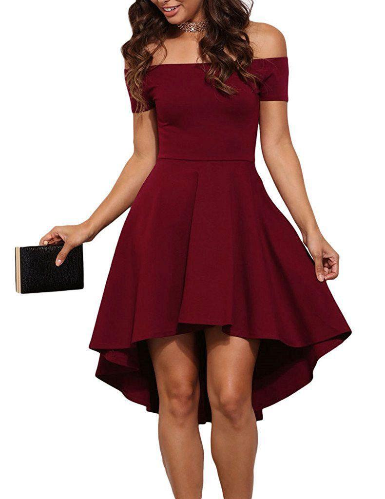 Fashion Asymmetrical Pure Off Shoulder Bateau Neck Short Sleeves Swallows Sexy Short Skirt Cheap Women Dress 2019