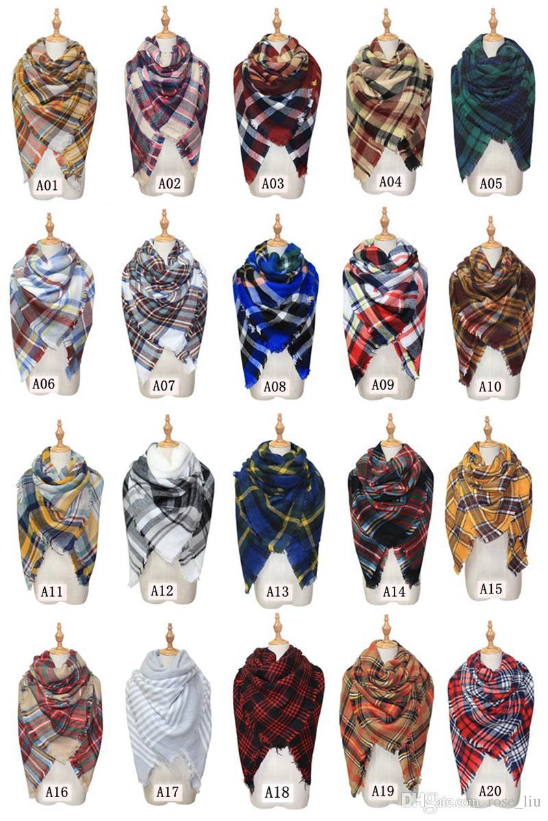 Schals Plaid Blanket Schal Frauen Tartan Quasten Schal Gitter Schalldämpfer Mode Mädchen Winter Wraps 20 Farben 140 * 140 cm XT
