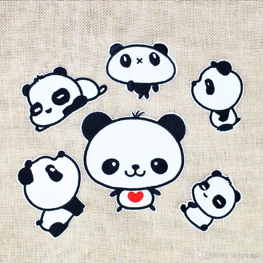 combinación panda parches bordados para la ropa parche de hierro para la ropa apliques accesorios de costura pegatinas en paño de hierro en parches