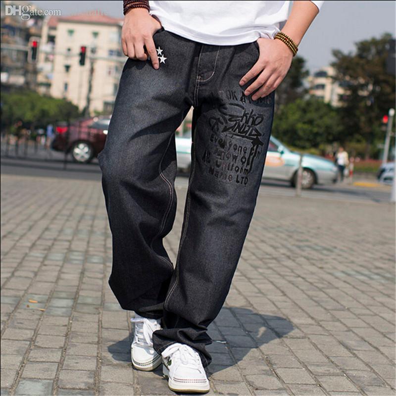 Online Cheap Wholesale Hip Hop Baggy Jeans Black Mens ...