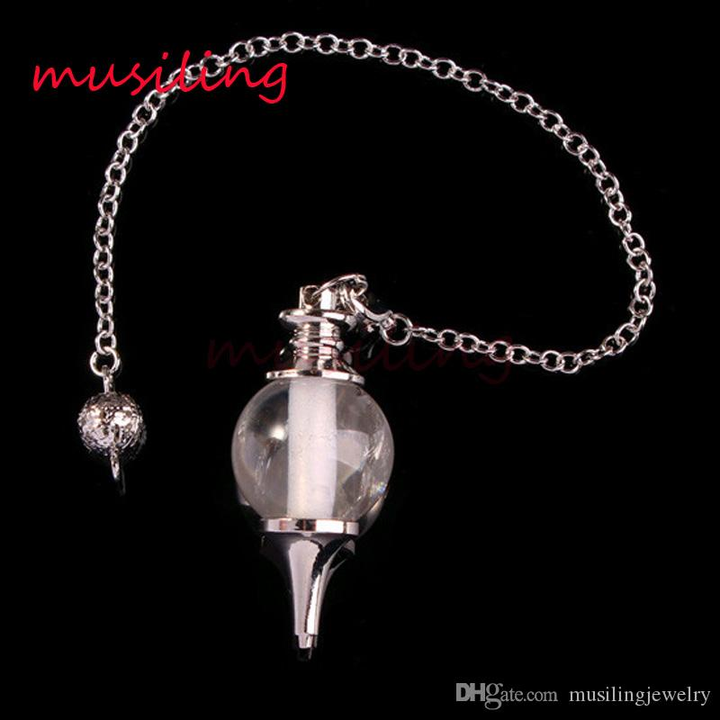 Maya Bead Reiki Dowsing Pingentes de Pedra Natural Pendulum Cadeia de Jóias Cura Chakra Hipnose Charme Pagan Wicca Acessórios Para Bruxas 18mm Bead