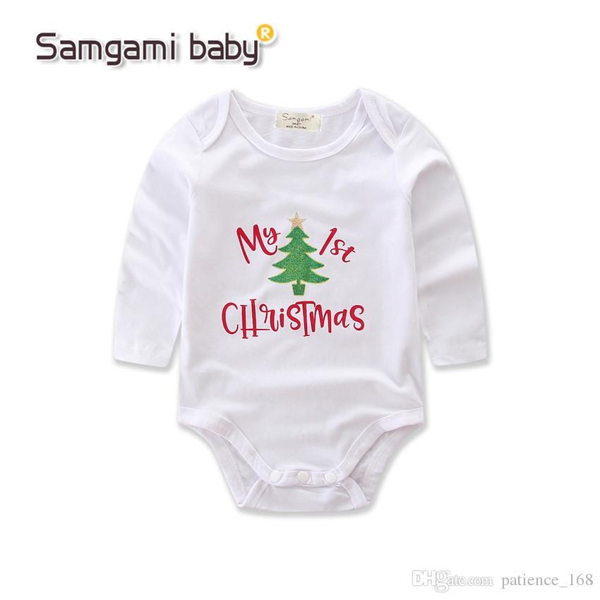 INS nuevos estilos otoño trajes de algodón puro de manga larga mameluco de Navidad + manga del pie + diadema tres sets bebé niños ropa