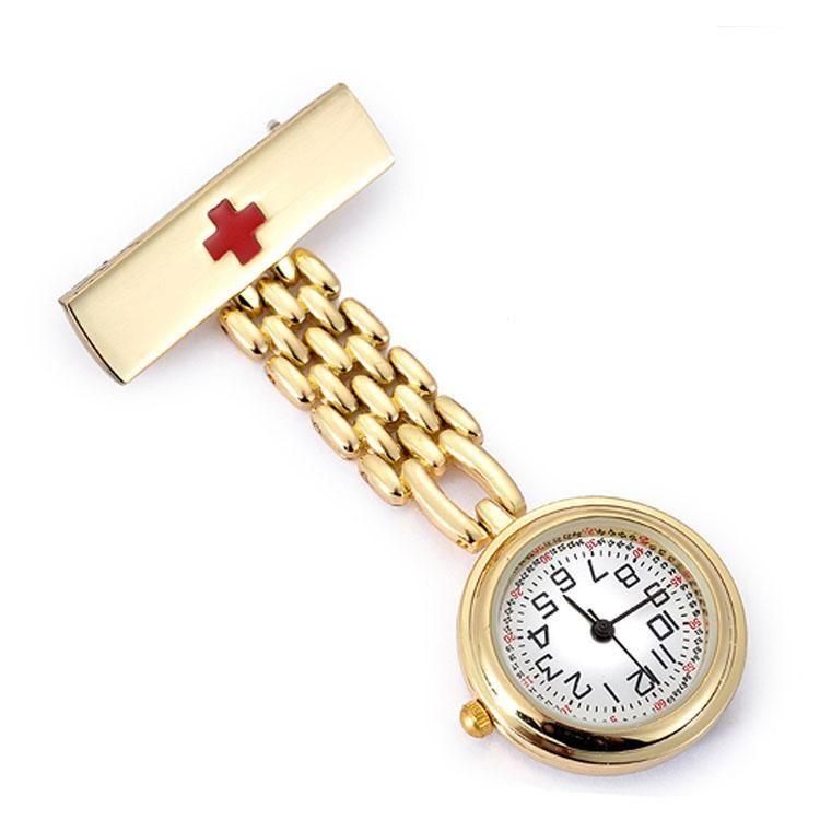 28228627b84 Fob Pocket Watch Nurse Red Cross Gold Silver Chain Brooch Doctor ...