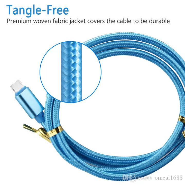 High Speed Cables 1m 2m 3m Type c Micro Usb Cable Braided Nylon Alloy Metal Cables For Samsung s9 s10 s21 note 10 htc android phone