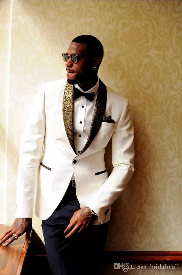 2019 Designer de mariage blanc Groom Hommes Costumes Slim Fit Epoux Le meilleur homme Smokings Custom Made veste + Hankercheif