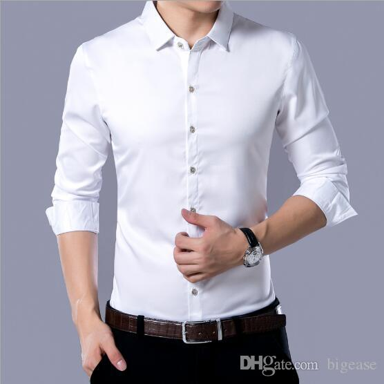 b6847eec3 2017 autumn and winter new pure color men s shirt business avoid ironing and  fat man long sleeve shirt men s wear clothing wholesale