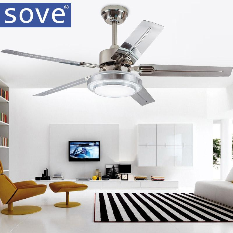 2018 Sove Modern Led Ceiling Light Fan Dining Room Stainless Steel Blade Ceiling  Fans With Lights Remote Control Ventilador De Teto From Langui, ...