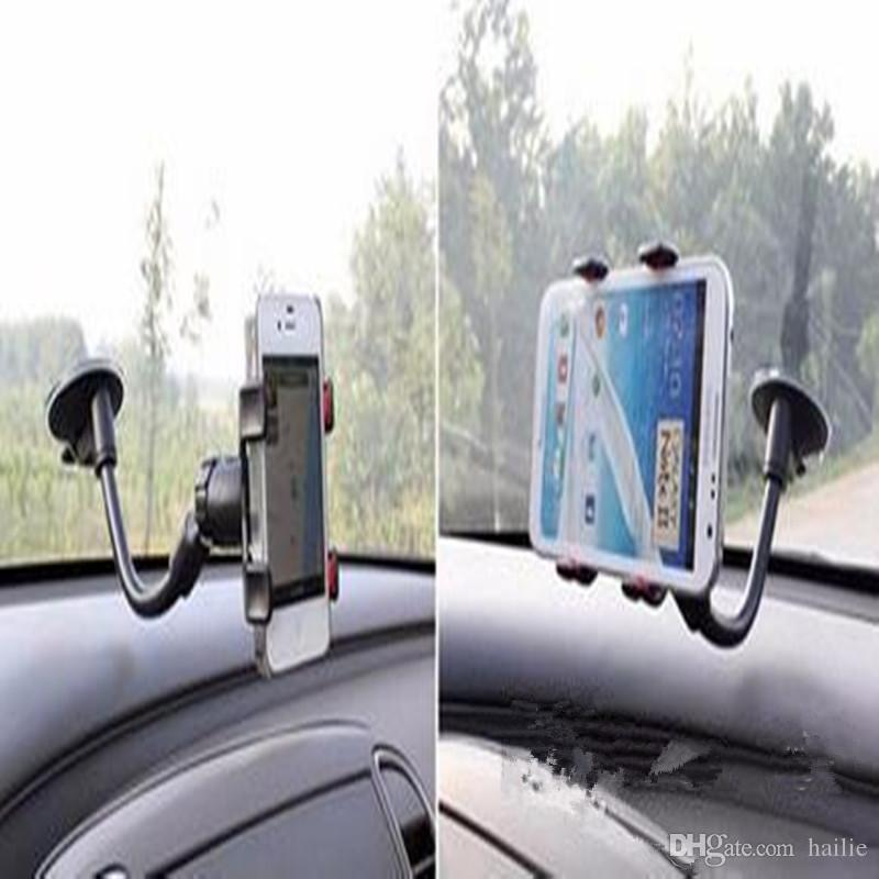 For iPhone 6/6s Double Clip Car Mount Easy-To-Use Universal Long Arm/neck 360°Rotation Windshield Phone Holder for Cell Phones -Retail Pack