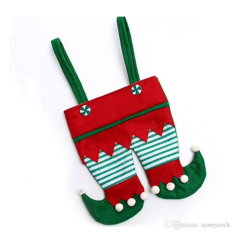 Non Woven Fabric Christmas Elf Pants Stocking Candy Bag Kids X-mas Party Decoration Ornament Gift ZA5052