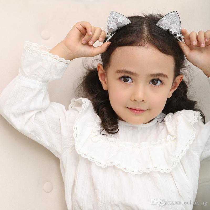 Fashion Glitter Hair Clips for Kids Rubbit Ears Beak Clips Cute Cat Ears Barrettes for Girls New Design Pompom Ears Glitter Baby Accessories