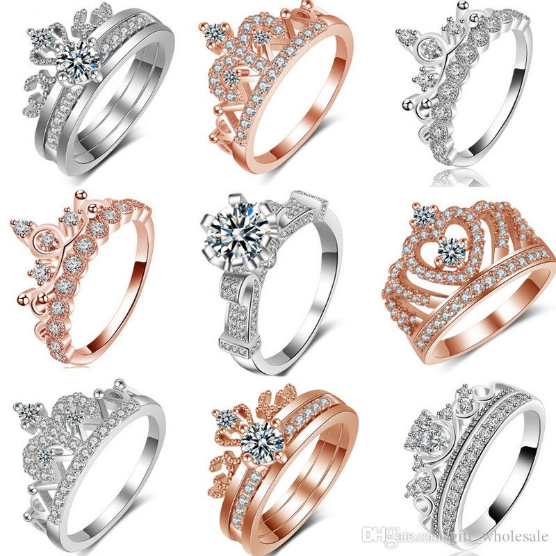 4893be1ea5ee Compre K Oro Plateado Circonio Corona Anillos De Bodas Para Las Mujeres  Pandora Estilo Princesa Anillos Tiara Corona Boda Anillo De Compromiso Para  La ...