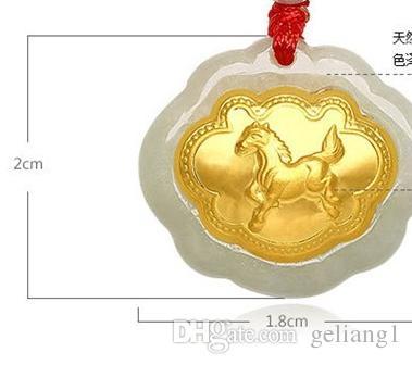 Gold inlaid jade ChangMingSuo zodiac dragon charm necklace pendant talisman