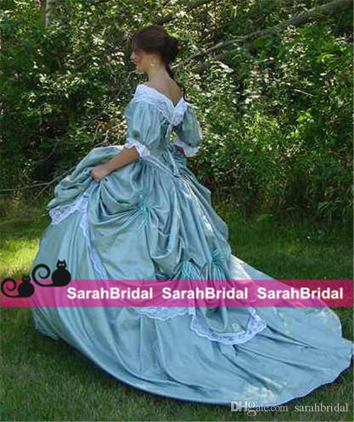 Fait sur mesure guerre civile nuptiale victorienne du Sud Belle Steampunk Une ligne jupe robe de bal en taffetas et dentelle pas cher Vintage Rétro Robes de mariée