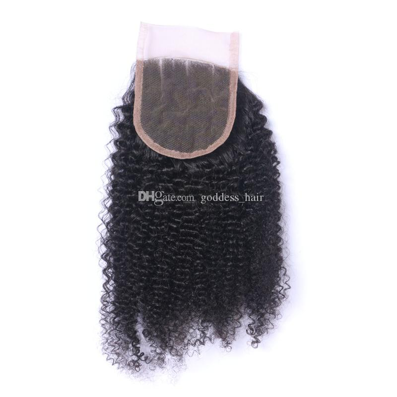 Mongolian Afro Kinky Curly Hair Weaves With Lace Closure 4*4 3 Bundles Human Hair Weave With Closure Free Part Hair Extensions For Woman
