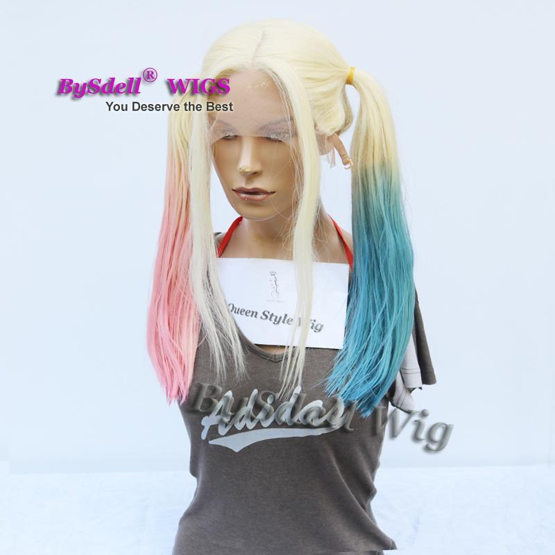 Halloween Cosplay Perücke Suicide Squad Harley Quinn Pferdeschwanz Frisur Lace Front Perücke Natürliche Blonde Ombre Pink Blau Harley Quinn Pferdeschwanz Perücke