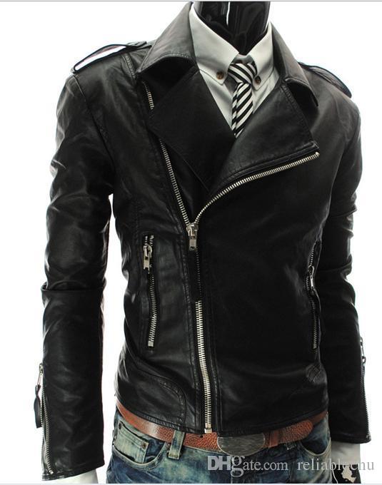 Более наклонная молния PU кожаная куртка мужчины пальто 2018 Дизайн большой отложной воротник с длинным рукавом бесплатный корабль высокое качество повседневная куртка мотоцикла