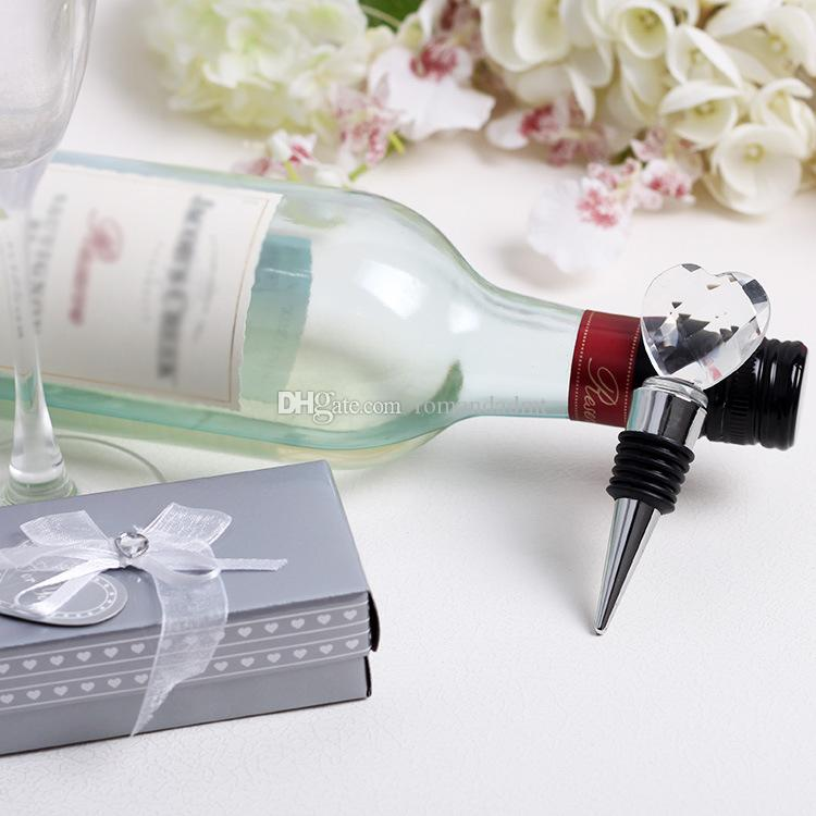 crystal love heart shaped wine bottle stopper wedding bridal shower favors gifts party decoration gift for guest dhl wedding party favor wedding shower