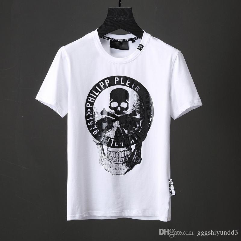 70490abf6884 2018 Summer New T Shirts Mens 3d Skull Print T Shirt Crystal Beads Short Sleeve  Shirt Black White Male Tees Slim Sports Polo Shirts 18740 Shop T Shirt ...