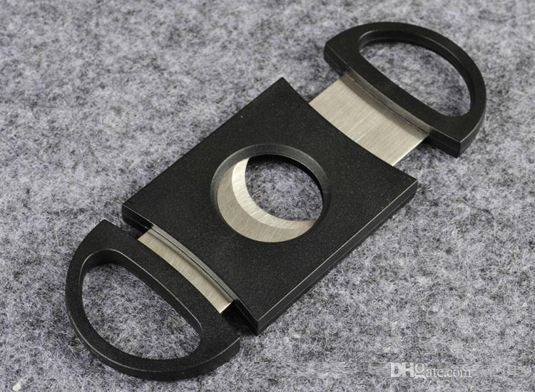 Карманный пластик из нержавеющей стали двойные лезвия сигары резак нож ножницы табак черный новый черный сигары ножницы wa4137