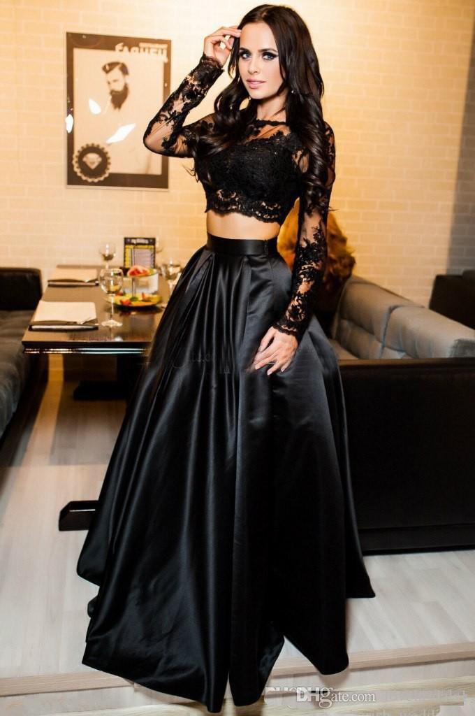 Two Piece Black Lace Applique Long Sleeves Prom Dresses A-Line Satin Floor Length Sheer Neck Evening Gown Party Dresses Special occasion
