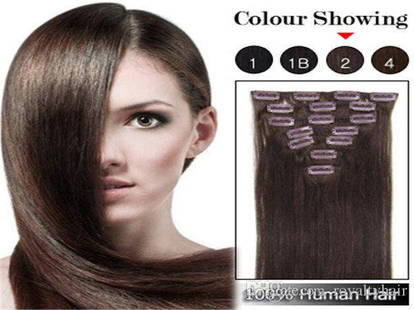 "Brazilian Human Hair straight Clip In Hair Extensions 7PCS Full Head Set 16""-22"" Multiply Colors Fast Shipping"