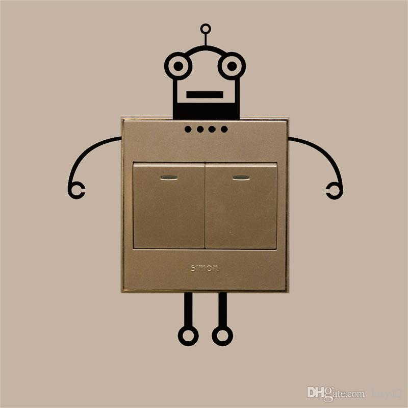 Robot love switch laptop cup family Wall stickers decoration decor home decals fashion waterproof bedroom living sofa