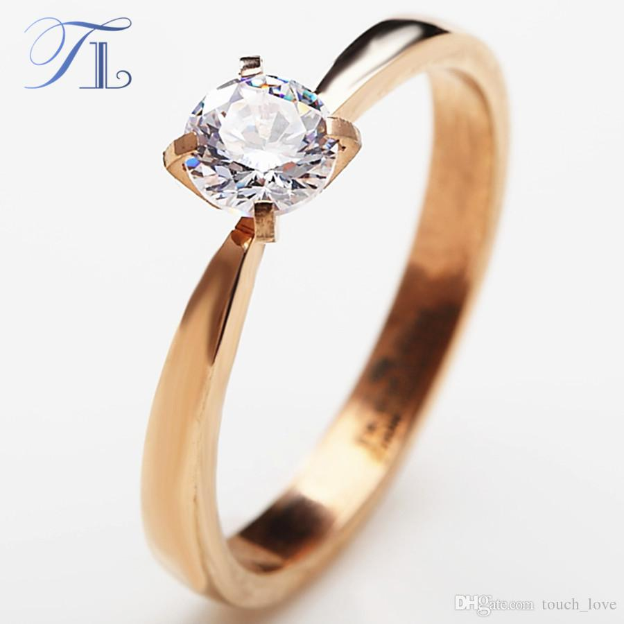 2019 Tl New Simple Design Elegant Gold Color Cubic Zirconia Lovers