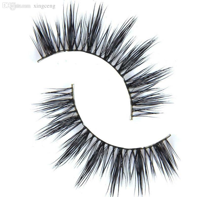 Wholesale-D-6 1 Pair Women Makeup 100% Real Mink Thick 3D False Eyelashes Popular Messy Nature Eye Lashes Black Handmade Lashes Extension