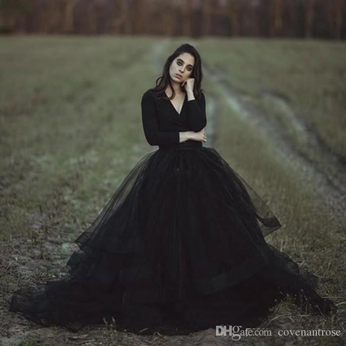 Großhandel Modest Black Country Brautkleider Ballkleid V Ausschnitt ...