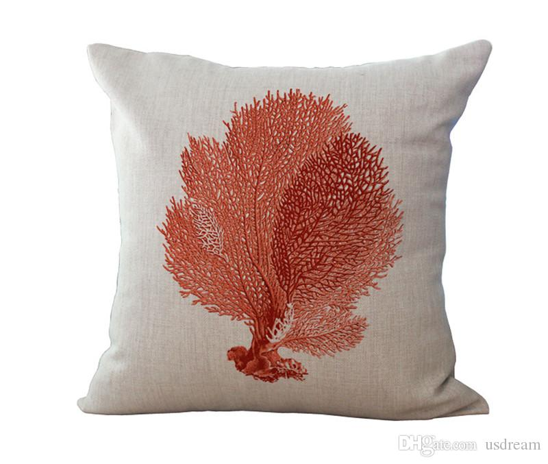 Fodera cuscino Conchiglia di stelle marine in corallo rosso Cuscino in cotone quadrato Copri federa Divano letto Decorazioni regalo di Natale 240480