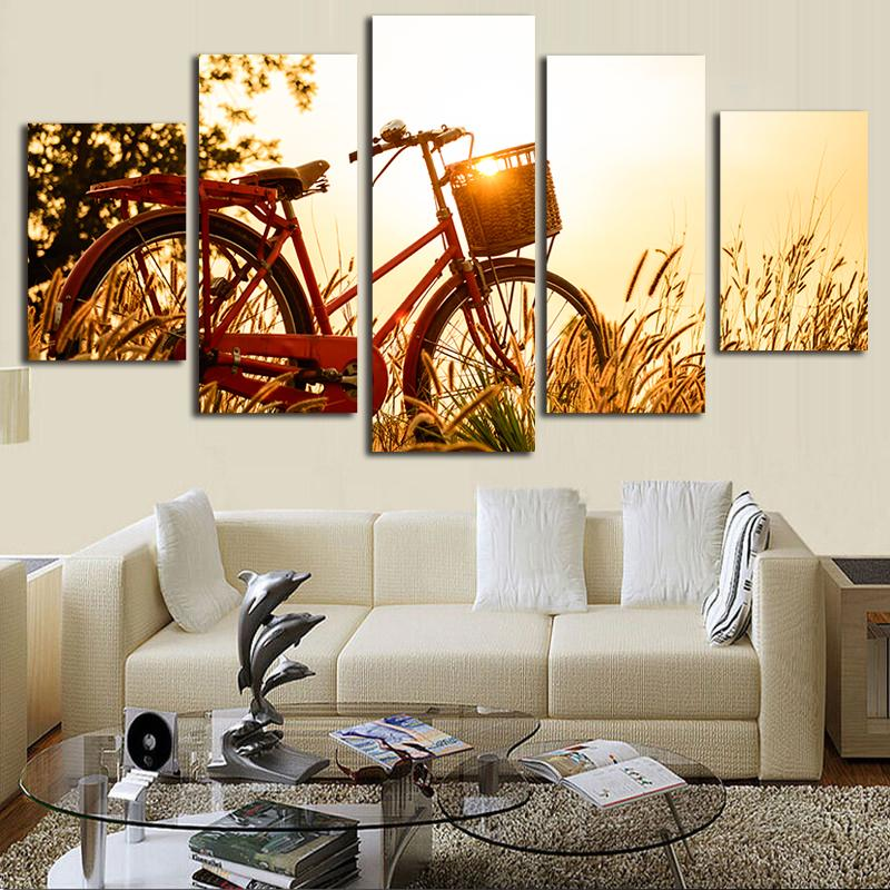 Acheter Couleur Chaude Toile Peintures 5 Pièce Toile Art Décoratif ...