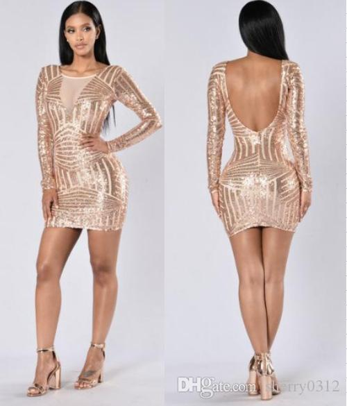51c962bb 2019 Gold Sequins Long Sleeve Pickage Hip Dress 2017 Sexy Women O Neck  Striped Sequined Mini Dresses Slim Pick Hip Club One Pieces Party Dresses  From ...