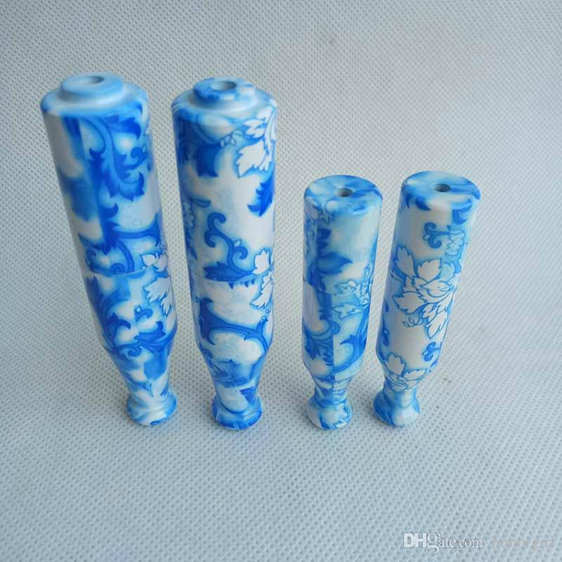 china blue and white Tobacco porcelain Ceramic Metal Pipes filter smoking tobacco pipes cigarette holder Mini Snuff 78mm