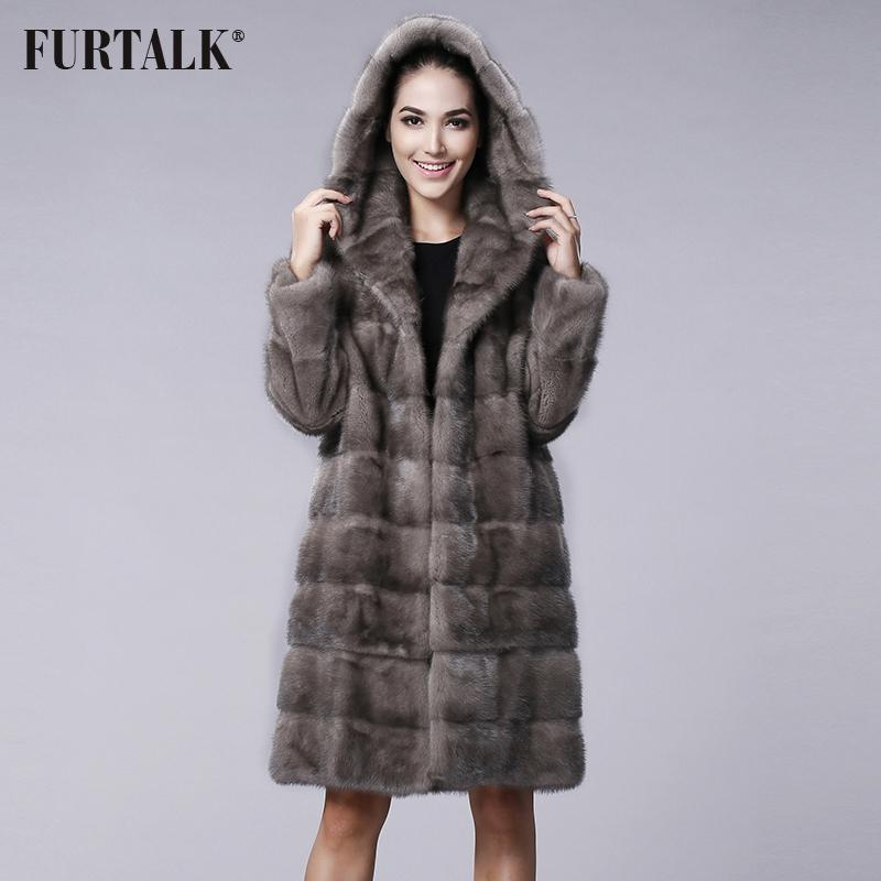 Furtalk Winter Russian Women'S Real Natural Hooded Mink Fur Coat ...