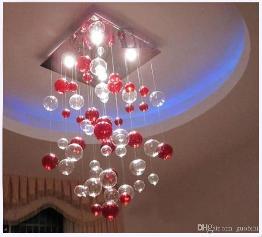 indoor pendent light red bubble pendent light glass chandelier