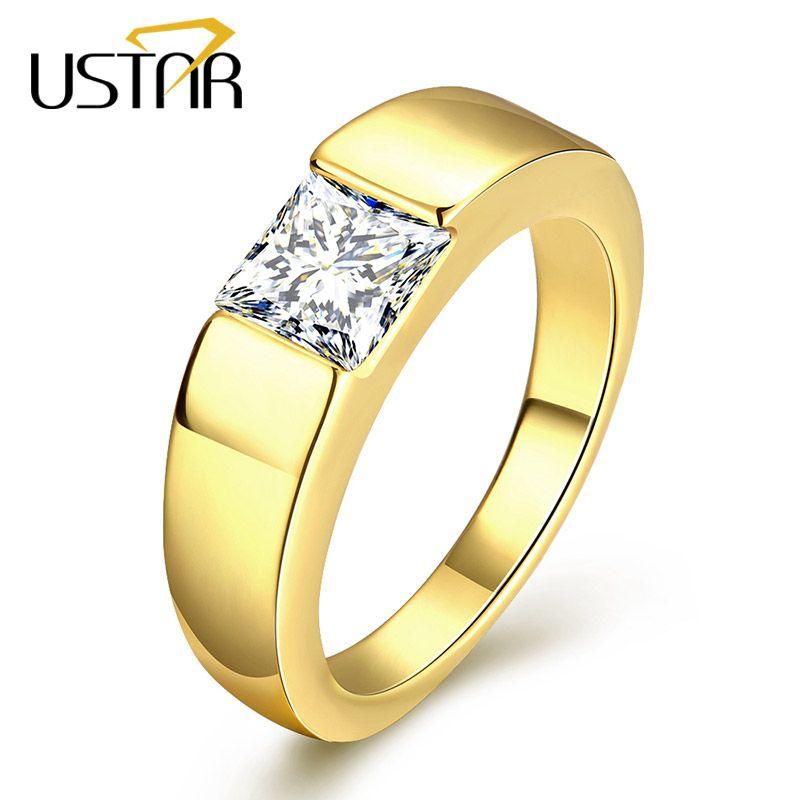 2018 Ustar Square Zirconia Crystals Men Rings Jewelry Yellow Gold ...